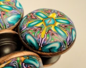 Cabinet knobs  teal yellow purple Polymer Clay unique set of 8  oil rubbed bronze metal base 60 avail