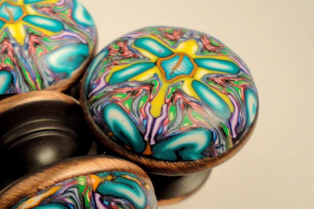 Cabinet Knobs Teal Yellow Purple Polymer Clay 8 Unique Turtle