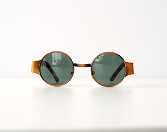 Vintage 80s 90s Steam Punk Metal Small Circle Tortoise Copper Sunglasses