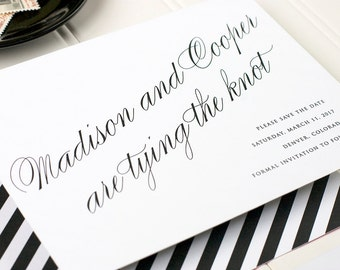 Black and White Save the Date, Old Hollywood Save the Date, Classic Stripes Save the Date - Flat Printing - Astaire - SAMPLE