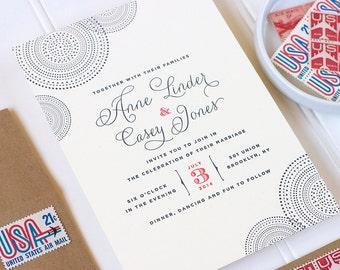 Modern Letterpress Wedding Invitation - Whimsical Letterpress Wedding - Simple Letterpress Invite - Union - SAMPLE