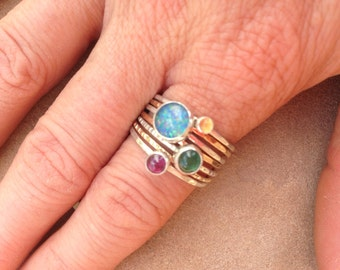 Four Planets Gold and Silver Stacking Ring