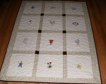 Embroidered Baby Crib Quilt, Angels and Things!