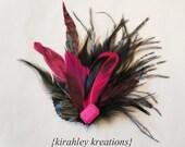 SHANA -- Hot Schocking Pink Fuchsia Black Chinchilla Mallard Duck Marabou Feather Fascinator Hair Clip Headpiece Bridesmaid Wedding / Prom