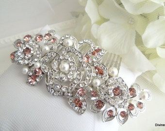 Pearl Bridal Hair Comb Wedding Hair Comb vintage style Flower Hair Comb Bridal Rhinestone Hair Comb Pink Hair Comb Rose Hair Comb TIA