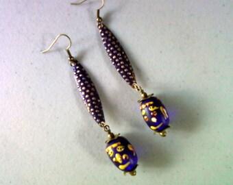 Dark Cobalt Purple Ethnic Earrings (1375)