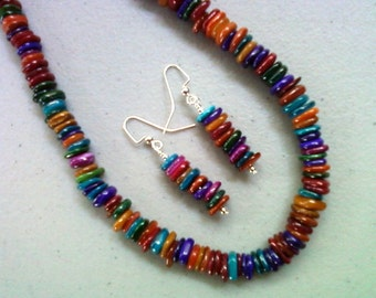 Multicolor Mother of Pearl Shell Heishi Bead Necklace and Earrings (0153)