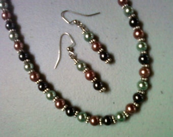 Black, Light Brown and Sage Green Pearl Neckalce and Earrings (0563)