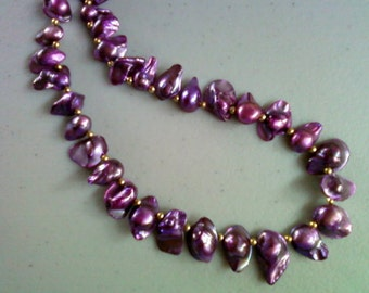 Purple Blister Pearl Necklace (0075)