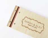 slim wedding guest book romantic wood engagement anniversary gift custom engrave