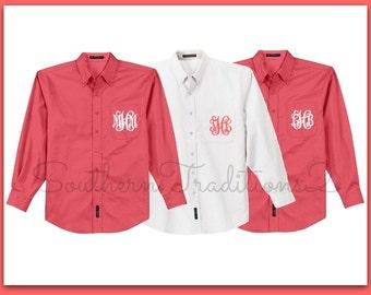 Monogram Button Down Brides Shirt, Set of 3 Getting Ready, Monogram Oversized Boyfriend Wedding