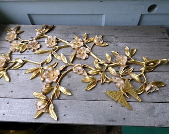 """Wall Art vintage Syroco 1962 Dogwood Branches with Butterflies pair of large gold hard plastic for home decor each measures 36 x 23"""""""
