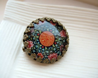 Round glass dome brass framed pattern brooch pin - Double Happiness