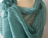 Linen Scarf Women Shawl Knitted Natural Summer Wrap in Misty Green Pastel Mint