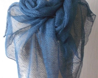 Linen Scarf Blue Knitted Natural Summer Shawl  Wrap Natural Flax
