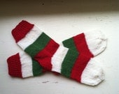 Hand Knit Soft And Warm  Women's Pure Wool  Christmas Socks, Size  8  - 8.5  (9.5 inches length) - Christmas Colors