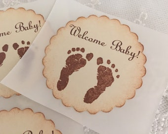 Footprint Stickers Baby Shower Stickers Birthday Envelope Seals Neutral Boy or Girl Set of 10