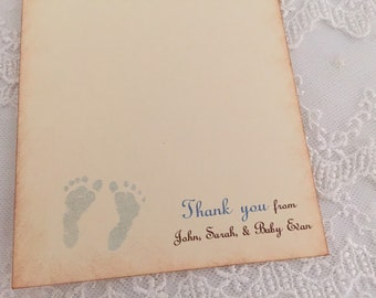 Boy Footprint Thank You Cards Baby Shower Birthday Personalized