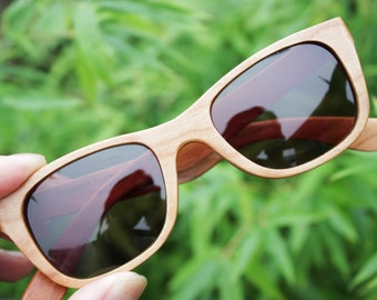 Can be customized American Cherry Wood Walker Handmade Wooden Takemoto Brown prescription RX Sunglasses