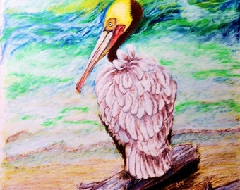 Brown Pelican Oil Pastel Painting, Beach Driftwood and Pelican Art, Original Nature Art, Sea Bird on Beach