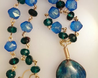 Blue Enamled Clamshell Necklace