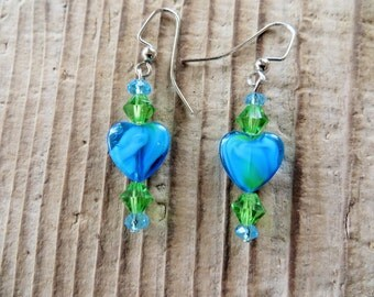 Swirled Blue Glass Hearts with Crystals Dangling Earrings