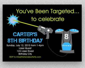 Laser Tag Birthday Invitation Laser Tag Invitation Printable