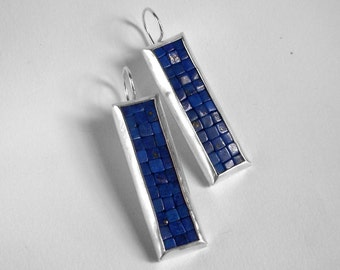Mosaic Earrings - Lapis Lazuli Silver Earrings - Long Rectangular Earrings - Blue Gemstone Earrings - Mosaic Jewelry - French Wire Earrings