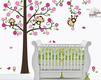 Large Blossom Tree with three monkeys and birds, monkey wall decal, tiwns, brother monkey, monkey tree decal -d492