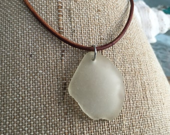 Large White Sea Glass Pendant with Your Choice of Leather Cord or Ball Chain Necklace