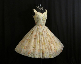 SALE Vintage 1950's 50s Lemon Yellow Flocked Floral Chiffon Organza Party Prom Wedding Dress
