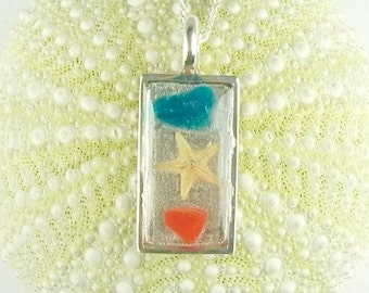 Sterling Silver Handmade GENUINE Sea Glass Jewelry Starfish Necklace Red And Blue Seaglass