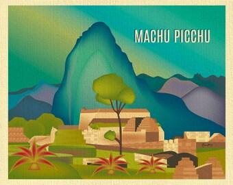 Machu Picchu Skyline Art Print, Peru Artwork, Loose Petals City Travel Wall Art, Peruvian Art Print, Machu Picchu Artwork - style E8-O-MAC
