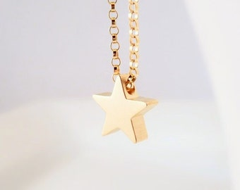 Gold star necklace - 14K gold filled simple delicate rolo chain with shiny gold plated charm - Baby I'm a STAR