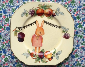 Little Beatrix Bunny with Fruit Vintage Illustrated Plate