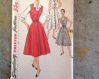 Vintage Simplicity 1094 Women's Misses' One Piece Dress Jumper Blouse Sewing Pattern Size 12 Bust 30 Uncut