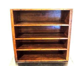 vintage wall shelf - 1940s-50s solid wood curio/display/file