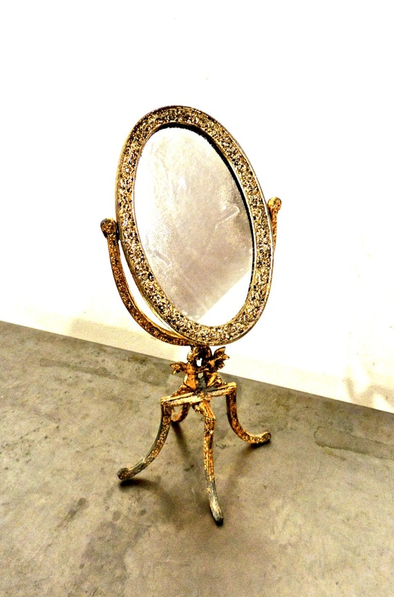 Vintage standing vanity mirror 1950s hollywood regency by for Gold standing mirror
