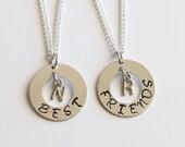 Best Friend Gift Personalized Necklace Best Friend Necklace Hand Metal Stamped Best Friend Jewlery Best Friend Birthday Gift, BFF Gift
