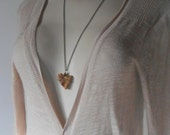 Vintage Stone Heart Necklace Natural Heart necklace natural stone necklace Long vintage necklace