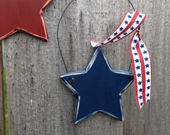 Wood Stars Americana Home Decor Door Wall Hanging Patriotic Fourth of July
