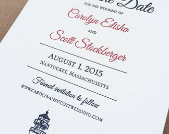 Letterpress Lighthouse skyline Save the Dates, choice of two ink colors DEPOSIT LISTING
