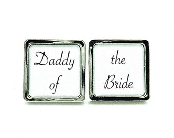 Daddy of the Bride - Black and White -  Mens Wedding Jewelry - Father Of The Bride