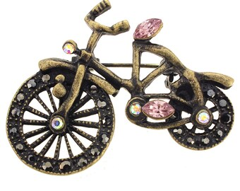 Vintage Style Brass Bicycle Crystal Brooch Pin 1012072
