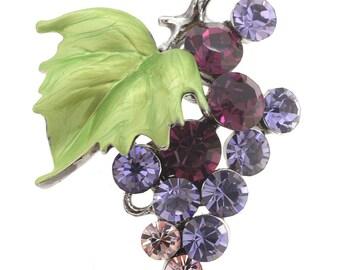 Multi Purple Bunch Of Grapes Swarovski Crystal Pin Brooch 1004782