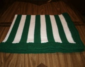 Knit Michigan State Fan Baby Blanket / Afghan / Lapghan With Crochet Trim