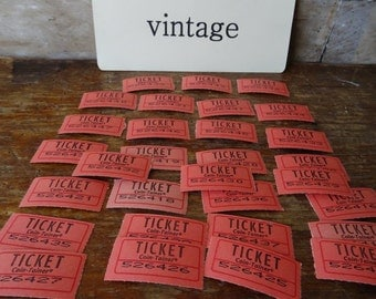 Vintage Carnival or Raffle Tickets Set of 30 Red