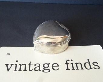 Vintage Metal Jewelry or Trinket Box Heart Box Initial M