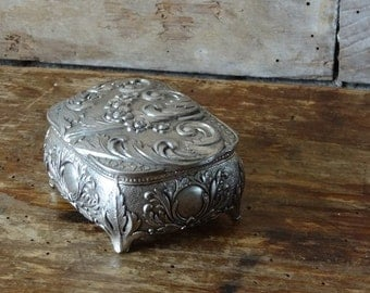 Vintage Metal Jewelry or Trinket Box Silver and Red Inlay