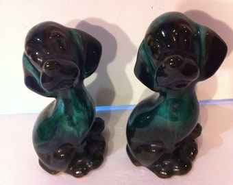 Pair of Green and Black Clay Dogs